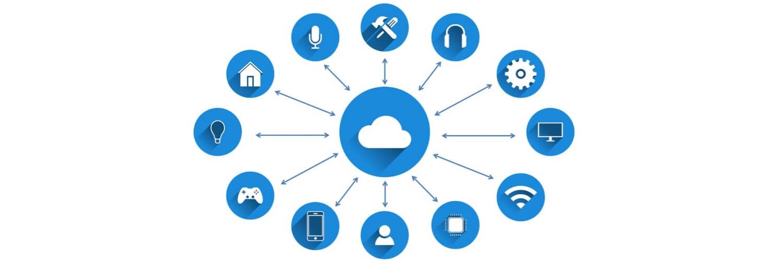 Ein Bild, auf dem verschiedene Icons mit der Cloud verbunden sind