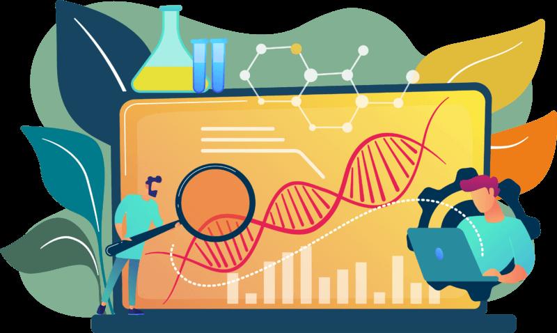 Elemente aus der Biotechnologie Branche als Comic