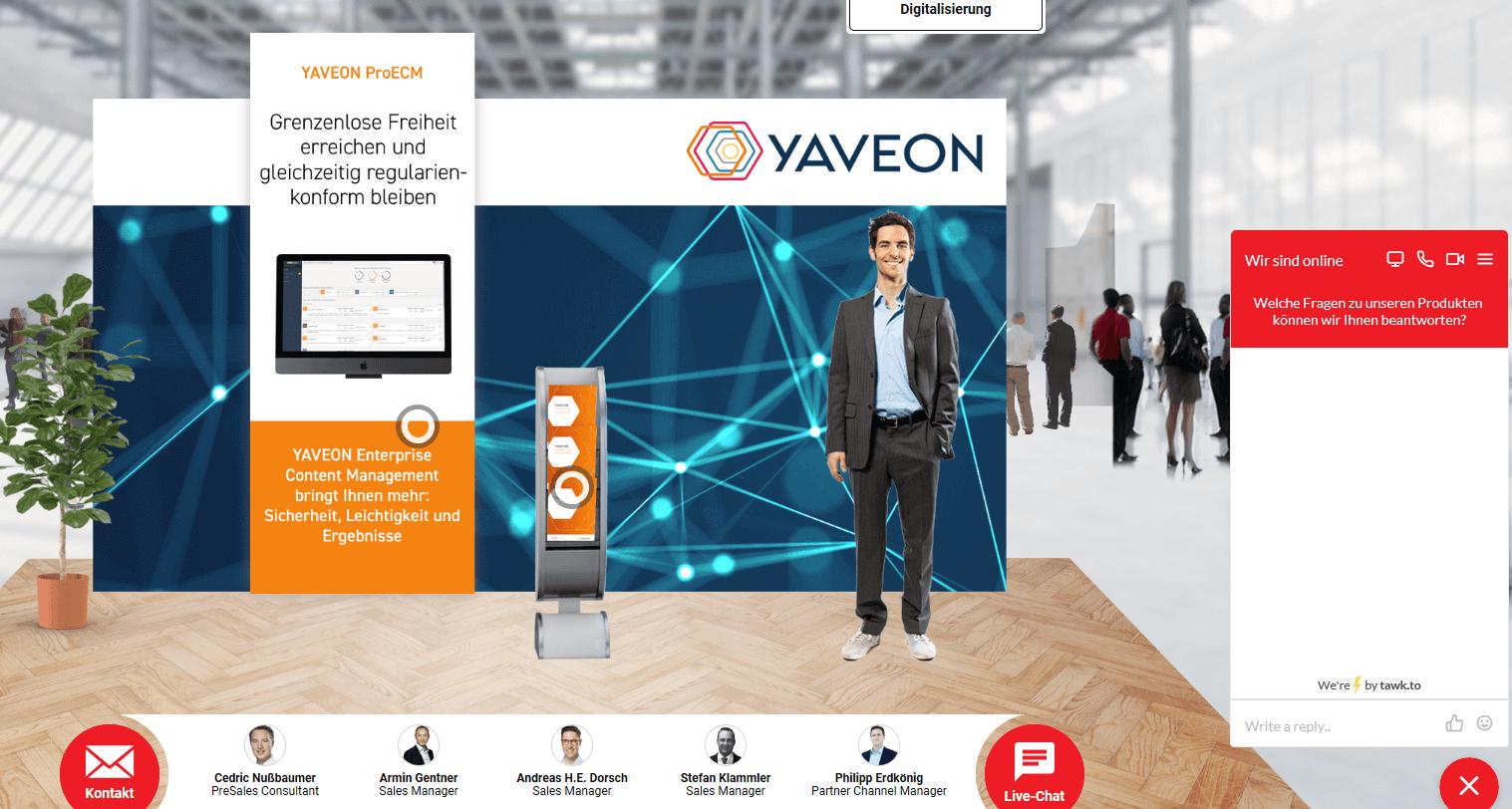 YAVEON Messestand auf der virtual process show