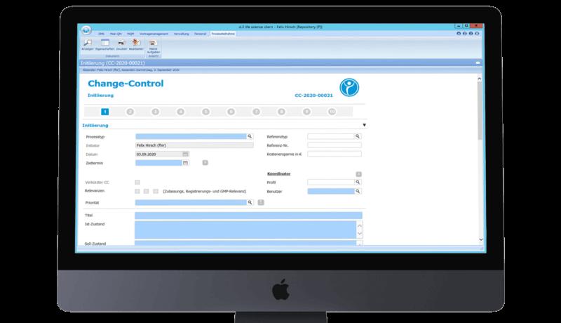 Screenshot aus der Software für Change Management