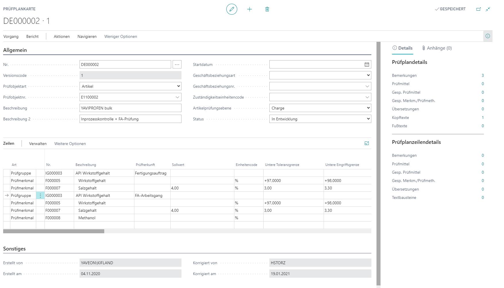 Detailscreenshot Qualitätskontrolle