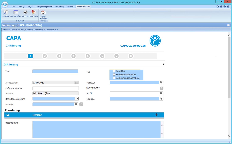 Detailscreenshot Modul CAPA Management