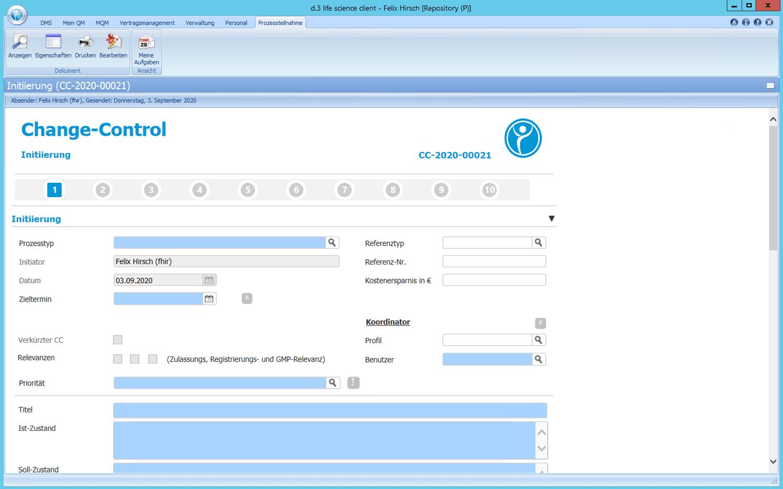 Detailscreenshot Modul Change Control