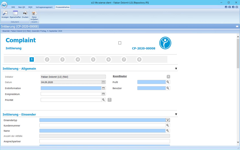 Detailscreenshot Modul Complaint
