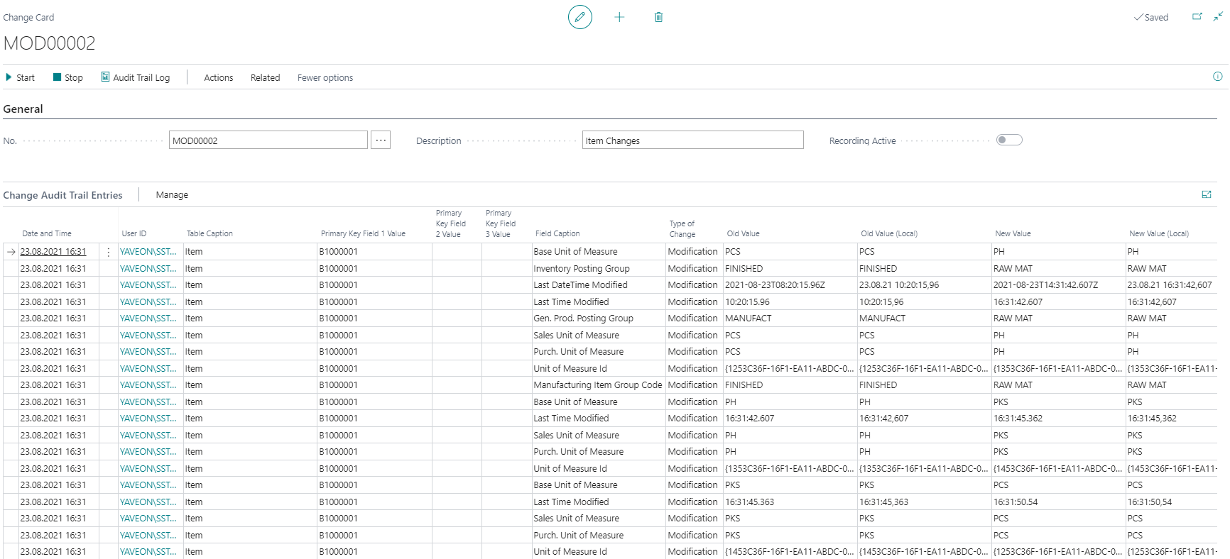 Detailscreenshot Function Audit Trail