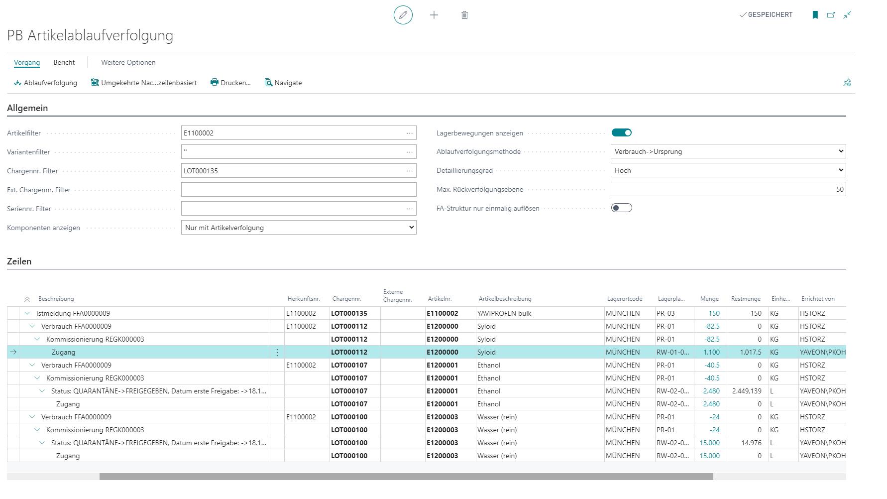 Detailscreenshot Funktion Chargenmanagement Pharma
