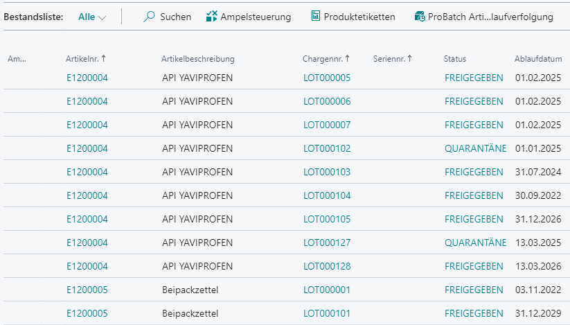 Detailscreenshot Funktion Haltbarkeitskontrolle Pharma