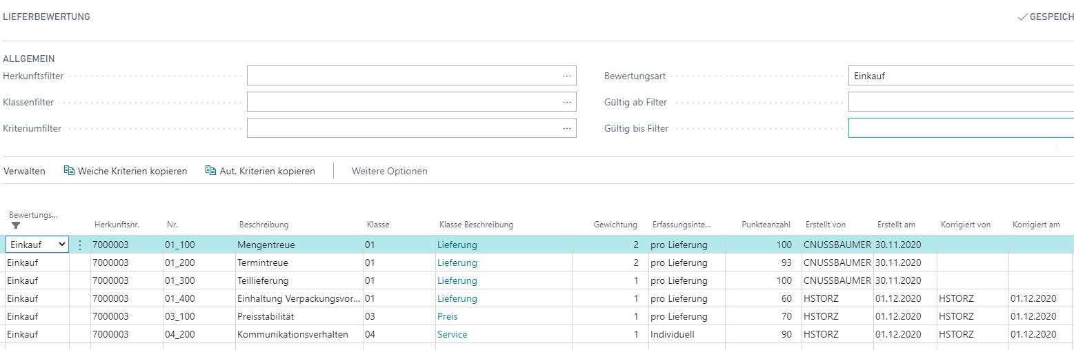 Detailscreenshot Funktion Lieferantenbewertung
