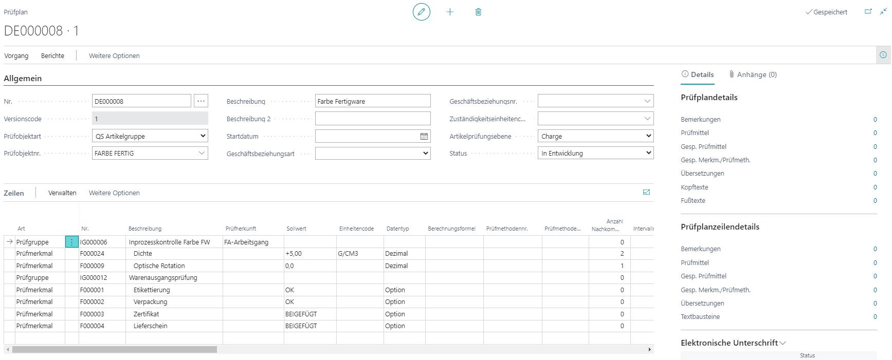 Detailscreenshot Funktion Qualitätskontrolle Chemie