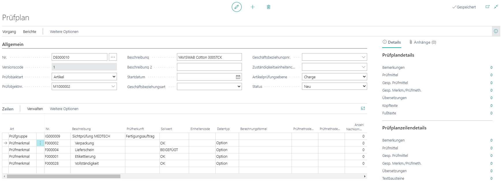 Detailscreenshot Funktion Qualitätskontrolle MedTec