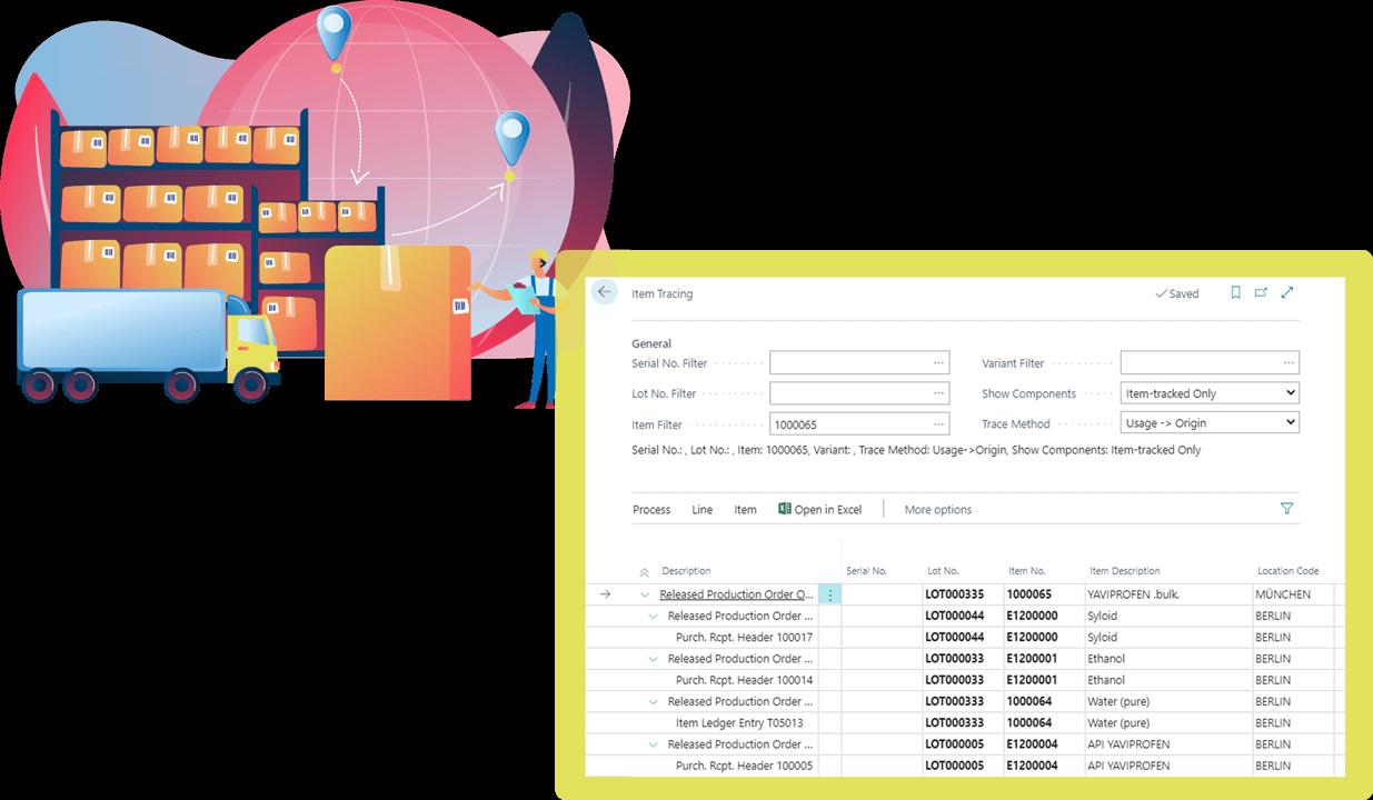 Screenshot Function Lot Management Pharmaceutical