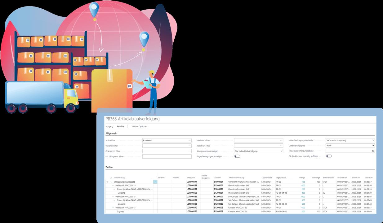 Screenshot Funktion Chargenmanagement Biotech