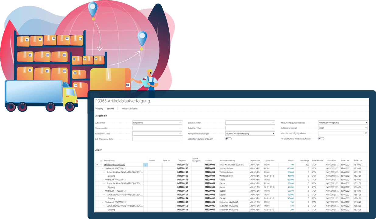 Screenshot Funktion Chargenmanagement MedTec