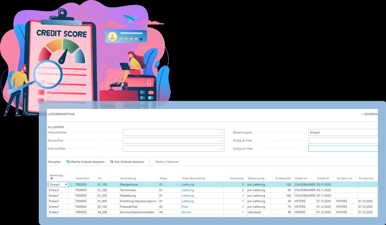 Screenshot Funktion Lieferantenbewertung Biotech