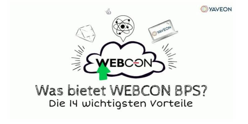 Ein Bild, auf dem die Vorteile von WEBCON BPS angekündigt werden